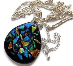 Large flamboyant mosaic style necklace in fused glass. Gorgeous flamboyant large droplet shaped necklace, hand made by fusing a layer of black