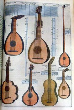 MusicArt KIRCHER MUSURGIA UNIVERSALIS Of the plucked instruments displayed here: II is a TESTUDO or tortoise, clearly a twelve-string lute; III is a THEORBO or bass lute; IV is labelled COMMON GUITAR but most uncommonly it appears to have 17 strings; V is another puzzler - labelled GERMAN OR ITALIAN GUITAR, it has five courses, or pairs of strings, but only four notes are given in the tuning chart; VI is labelled TYPE OF SPANISH GUITAR and has five courses; VII is advertised as a combination…