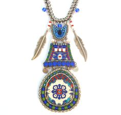 Long Blue Tribal Necklace - Ayala Bar – The Golden Sheaf Gallery