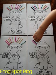 """This is a freebie for tens and ones, but it would also make a good how many more to make 10 activity!  Roll, put that many pieces of """"hair,"""" and then see how many more Super Ten would need to get 10 pieces!"""