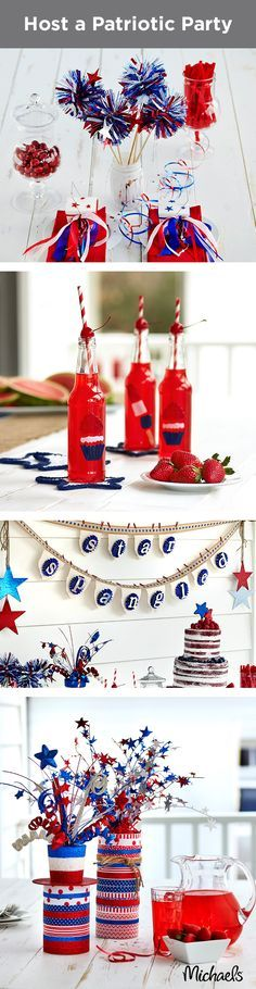 These patriotic party ideas will liven up your 4th of July celebrations! From Star-Spangled banners to red, white & blue desserts and firecracker decorations, these ideas are sure to make any party pop. Find everything you need at your local Michaels and make your Independence Day celebration fun & festive!