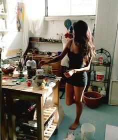 charmaineolivia: Lalala white paint black dress whatever