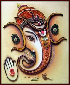 Ganesha - the lord of good beginnings. Ever since I made my first Ganesha , I have received numerous requests to quill. Ganesha Drawing, Lord Ganesha Paintings, Ganesha Art, Shri Ganesh, Clay Ganesha, Quilling Work, Quilling Paper Craft, Neli Quilling, Quilling Flowers