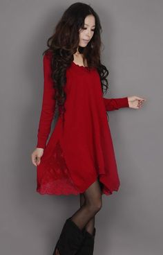 Red Holiday Lace Baby doll Dress Tunic Long Sleeve on Etsy, $52.00