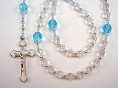 Girls Child' Rosary Catholic First Communion Crystal AB and Aqua Czech Glass Beads Primera Comunión el nino Rosario Free Shipping USA by TheGemBeadLink on Etsy