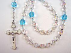 Girls Child' Rosary Catholic First Communion Crystal AB and Aqua Czech Glass Beads Primera Comunión el nino Rosario Free Shipping USA by TheGemBeadLink on Etsy