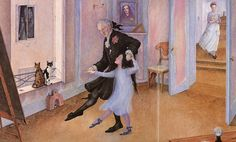 """From Snow-White (1993)   Neglected in a castle with her own nurse and cook, Snow-White is taught how to dance by """"an old gentleman"""". The long empty corridor leading to her room contrasts with busy social life that is glimpsed through a window in the background."""