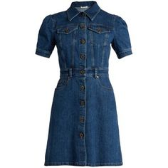 Miu Miu Gingham-tie A-line denim dress