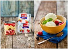 Domácí vanilková zmrzlina ze Salka. Jak si připravit doma vynikající zmrzlinu bez toho, aniž bychom potřebovali zmrzlinový stroj? Úplně jednoduše... :) Pouze ze Salka a šlehačky.... Food And Drink, Menu, Pudding, Ice Cream, Breakfast, Menu Board Design, No Churn Ice Cream, Morning Coffee, Custard Pudding