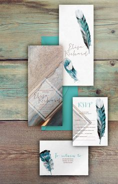 Bohemian wedding invitations - feather and stone wedding set. Not exactly the right direction for us, but still like the realism and grainy application.