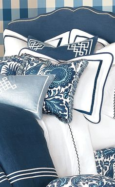 With a stunning colorway, intricately stylized design and classic grace, the Scalamandre Haveford Bleu Bedding Collection is beautifully decadent.
