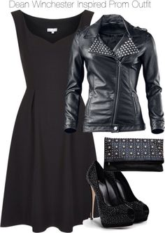 A fashion look from February 2015 featuring skater skirt, vegan leather jacket and high heel shoes. Browse and shop related looks. Tv Show Outfits, Prom Outfits, Fandom Outfits, Date Outfits, Casual Outfits, Fashion Outfits, Prom Dresses, Womens Fashion, Supernatural Outfits