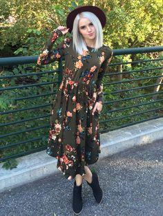    Olive Floral Dress    - Seven & Co Boutique #sevenandcoboutique #olivefloraldress #dresswithpockets #floraldress #floraldresswithpockets #falloutfit #fall2016