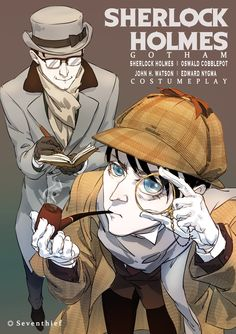 "seventhief: ""Sherlock and Watson cosplay by Oswald and Ed. Riddler Gotham, Gotham Villains, Gotham Tv, Penguin And Riddler, Penguin Gotham, Robin, Gotham Series, Yuri, Joker Comic"
