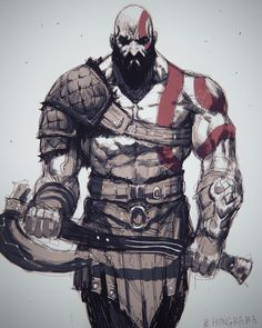 ArtStation - Kratos(God of War soonjae hong Video Game Characters, Fantasy Characters, Kratos God Of War, Greek Mythology, Fan Art, Comic Art, Character Art, Concept Art, Norse Mythology