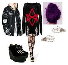 """1 hour sleep, and completely dead"" by teganself ❤ liked on Polyvore featuring Kill Star, Kreepsville 666 and Reason"