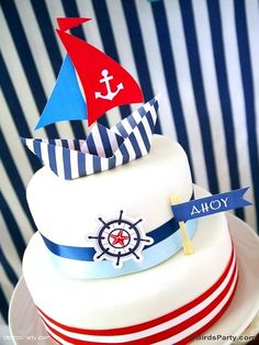Preppy Nautical Birthday Party with DIY ideas on decorations, printables, food and favors - Great red, white and blue 4th of July or memorial day. #4thofjuly #redwhiteblue #nautical #nauticaldecor #nauticaltablescape Nautical Cake, Nautical Party, Art Festa, Party Giveaways, Bird Party, Cake Blog, Cakes For Boys, 1st Birthday Parties, Birthday Cake