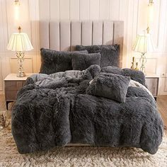 Fluffy Duvet Cover With Pillow Cover 3 Pieces Set Down Comforter, Duvet Bedding, Comforter Sets, Girl Bedding, Fluffy Bedding, Cream Bedding, Fluffy Blankets, Room Ideas Bedroom, Bed Sets