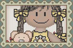 Cross Stitch For Kids, Cross Stitch Cards, Cross Stitch Baby, Cross Stitch Patterns, Stitch Doll, African Flowers, C2c, Hama Beads, Diy And Crafts