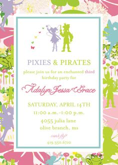 Pixie and Pirate Invitation Tinkerbell by camaddisondesigns