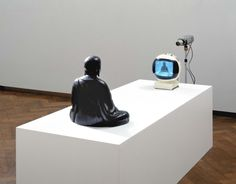 Nam June Paik TV Buddha * 1974 - Closed Circuit Video-Installation with Bronze Sculpture on ArtStack Fluxus Art, Nam June Paik, Neo Dada, Avant Garde Artists, San Francisco Museums, Video Installation, Interactive Installation, Video Artist, Korean Art