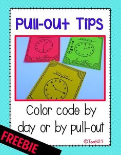 Visual reminders for students and teachers to help with students' pull out schedule. Color code them if students have support provided by more than one person.