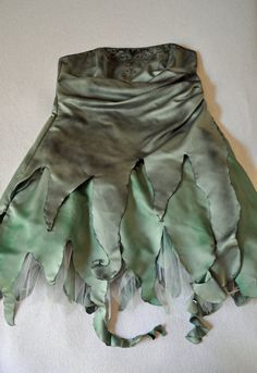 Reluctant, Grungy Fairy Costume. Green Woodland Elf, Sprite, Pixie or Fairy Upcycled David's Bridal Dress Size 20. on Etsy, $45.00