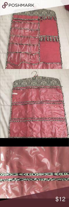 Jewelry Organizer front and back. Pretty pink and black. Black/white beautiful pattern. Jewelry