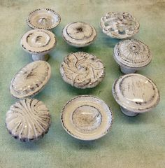 FREE SHIPPING Drawer Pulls Knobs Collection 10 Vintage Chippy Distressed Shabby Cottage Chic White