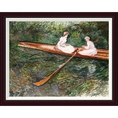 Global Gallery The Pink Rowing Boat by Claude Monet Framed Painting Print Size: