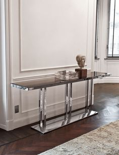 """ARTU"" Console --Bright Chrome finish metal base w/ bevelled SMOKE mirror top"