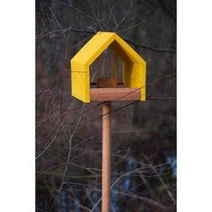 Dobar Eiche-Vogelfutterhaus mit Satteldach Gelb mit Ständer kaufen bei OBI