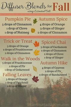 Fall Essential Oils Diffuser Blends ••• Buy dōTERRA essential oils online at www.mydoterra.com/suzysholar, or contact me suzy.sholar@gmail.com for more info.