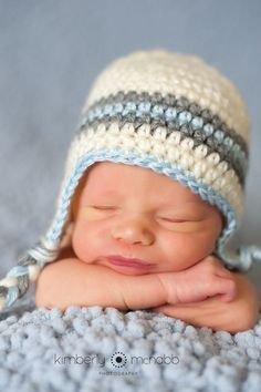 Crochet Baby Hat - Baby Boy Hat - Ear Flap Hat - Baby Newborn Hat - Baby Boy - Ready to Ship - Off-White, Grey and Blue - 1-3 Months on Etsy, $12.00