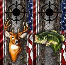 bass and buck deer camo flag cornhole boards bag toss baggo tailgate game w bags - Cornhole Board Wraps
