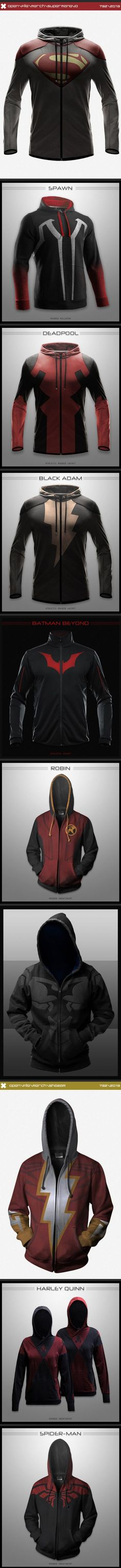 The coolest hoodies you'd love to own. I need the Deadpool and Spider-Man hoodies.