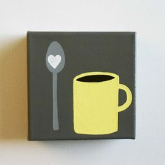 Yellow and gray kitchen -- decor for coffee bar/counter Coffee Heart, I Love Coffee, My Coffee, Coffee Cups, Grey Kitchen Cabinets, Kitchen Art, Kitchen Decor, Kitchen Canvas, Kitchen Nook