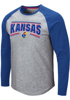 Colosseum Kansas Jayhawks Grey Kang Long Sleeve T Shirt - 150301745 Kentucky Basketball, Duke Basketball, Kentucky Wildcats, College Basketball, Basketball Players, Soccer, School Spirit Shirts, Kansas Jayhawks, Sleeve Designs
