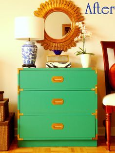 Honey Sweet Home: Going Green – Campaign Dresser Makeover! (Plus a Review of Benjamin Moore's Advance Paint)