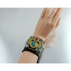 Egyptian Scarab Bracelet Statement Cuff Bead Embroidered, Swarovski... (8 560 PLN) ❤ liked on Polyvore featuring jewelry, bracelets, yellow gold jewelry, wing jewelry, swarovski crystal jewelry, yellow gold bangle and egyptian jewelry