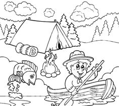 Image Result For Fishing Coloring Pages Preschool Camping ThemeBoy