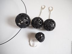 """Купить Фарфор.Комплект """"Чёрный ажур."""" - черный, фарфор, серьги, колье, кольцо"""