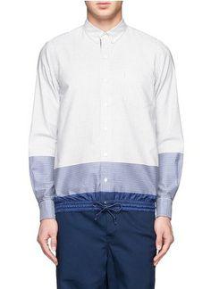 SACAIStripe drawstring hem shirt