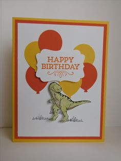 Dinosaur Balloons Birthday card (2017). Colors are Daffodil Delight, Tangerine Tango, and Whisper White. Stamp set is Dinoraur. Punches are the Decorative Lable Punch and the Balloon Bouquet Punch. All products are Stampin' Up!