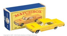 "Matchbox Regular Wheels No.20c Chevrolet Impala Taxi. Can be found in ""E"" type box."