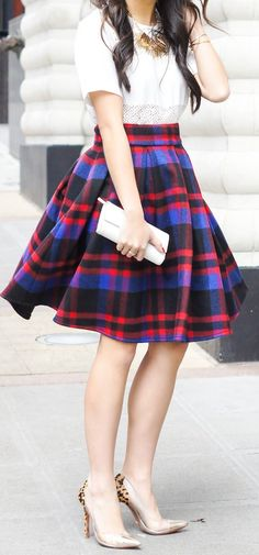 Multi Plaid Knee Length A-skirt