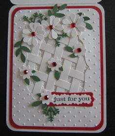 I cut the lattice pieces 1/4 inch.  Next time I think I will cut them a little smaller because of the size of my opening.    My niece loves red so I liked the punches of red on the card.  I did text her that I thought I could use her birthday card for a Christmas card too!
