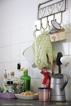 Detail of kitchen worksurface with vintage utensils | © living4media | Wolfgang Schwager | 11181828
