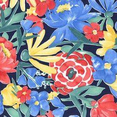 Michael Miller House Designer - Meet Me in The Meadow - Bloomers in Navy