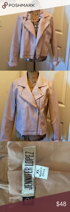 J Lopez Pale Pink Moto Jacket in simulated leather Ab Fab Pink color Moto Style Jacket w/ Silver Accents ... zippered front pockets and front off center zip up along w/ snaps at cuffs and collar... Wear as You choose! Jennifer Lopez Jackets & Coats
